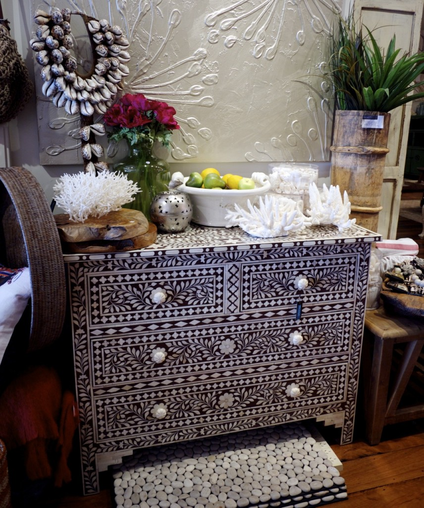 Few and Far - Coastal Drawers with Coral and Flowers