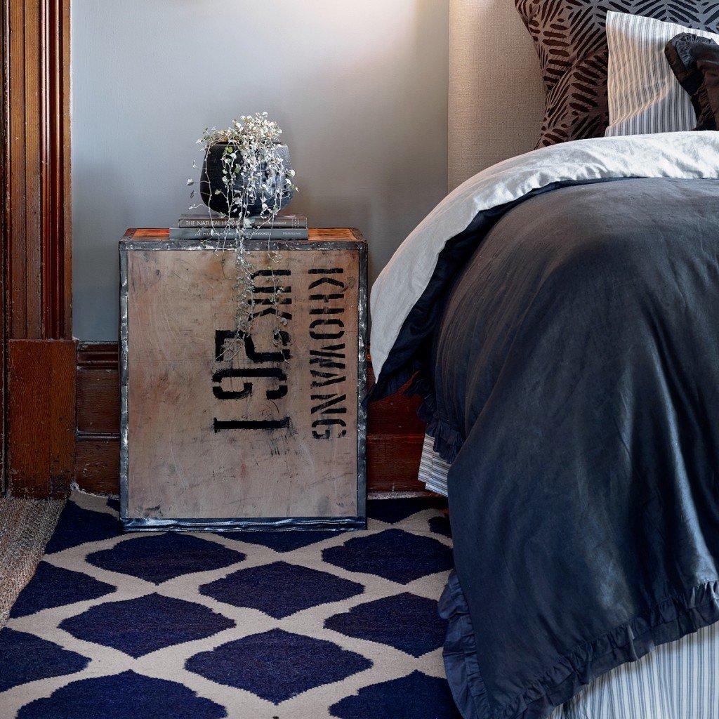 Tahla Rug in Indigo Blue with Indigo Blue Bedding