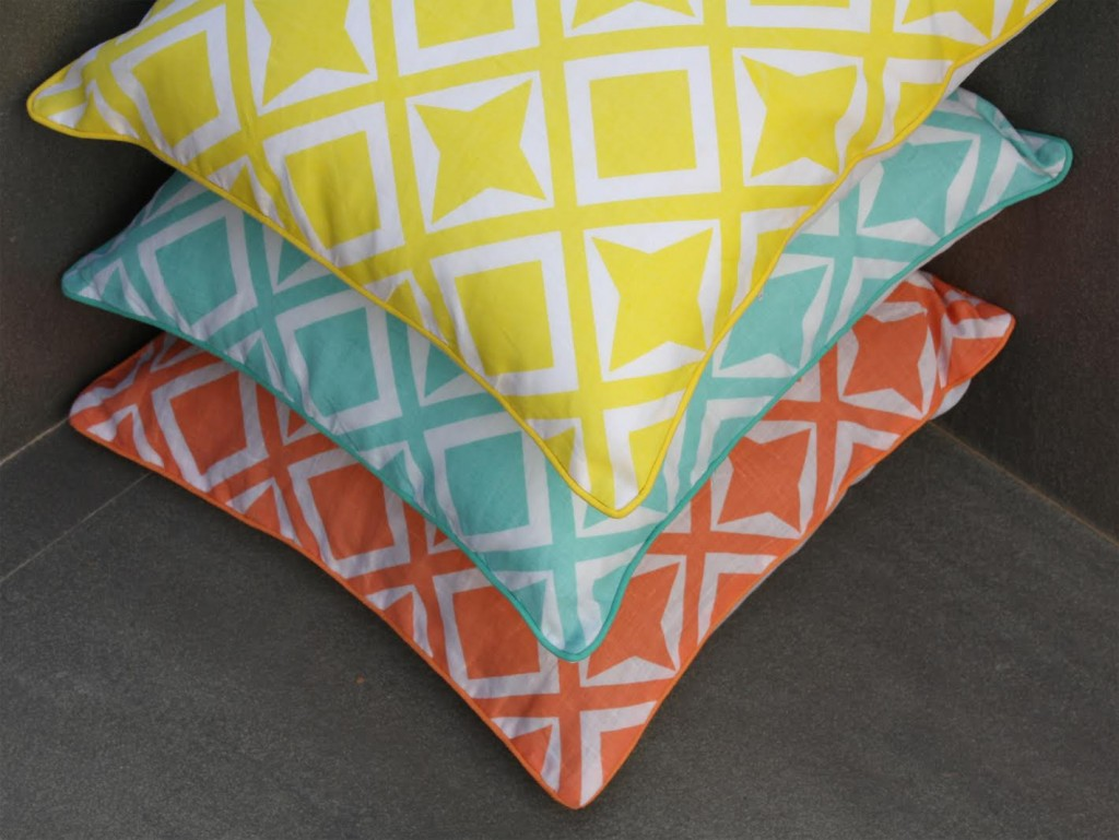 Shakiraaz cushions - bright geometric pattern