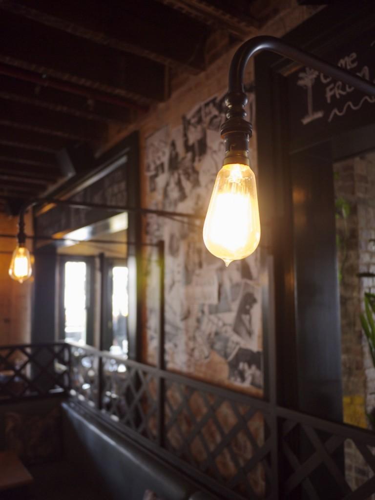 Industrial Edison Light Bulb at Animal Bar in Newtown