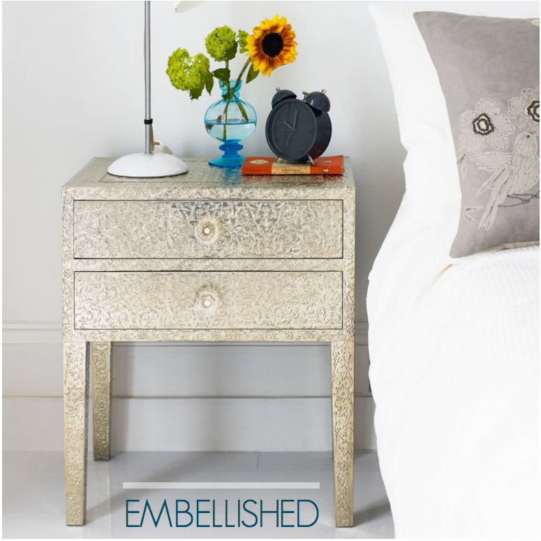 Industrial Embellished Bedside Table