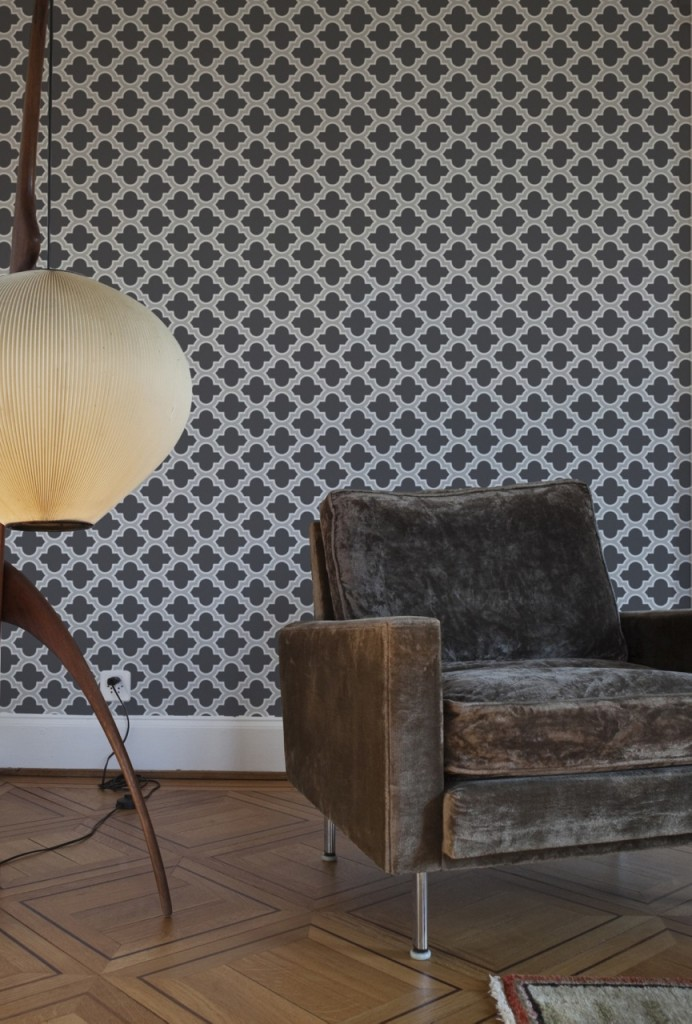 Masculine Lodge Lattice Wallpaper - Feature Wall Ideas from The Life Creative