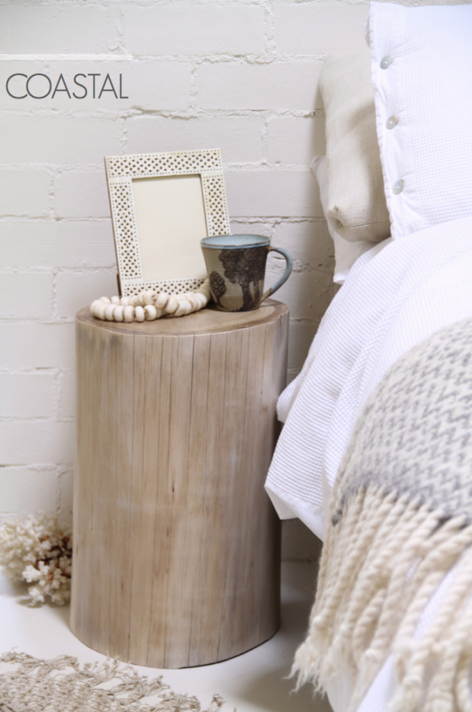 Log Bedside Table - Coastal