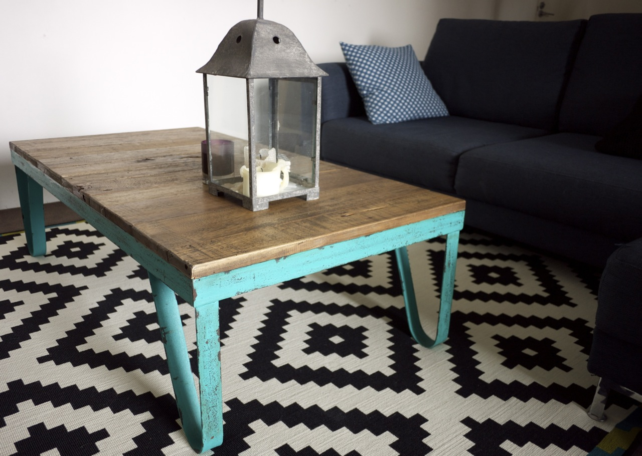 Industrial Coffee Table on IKEA rug