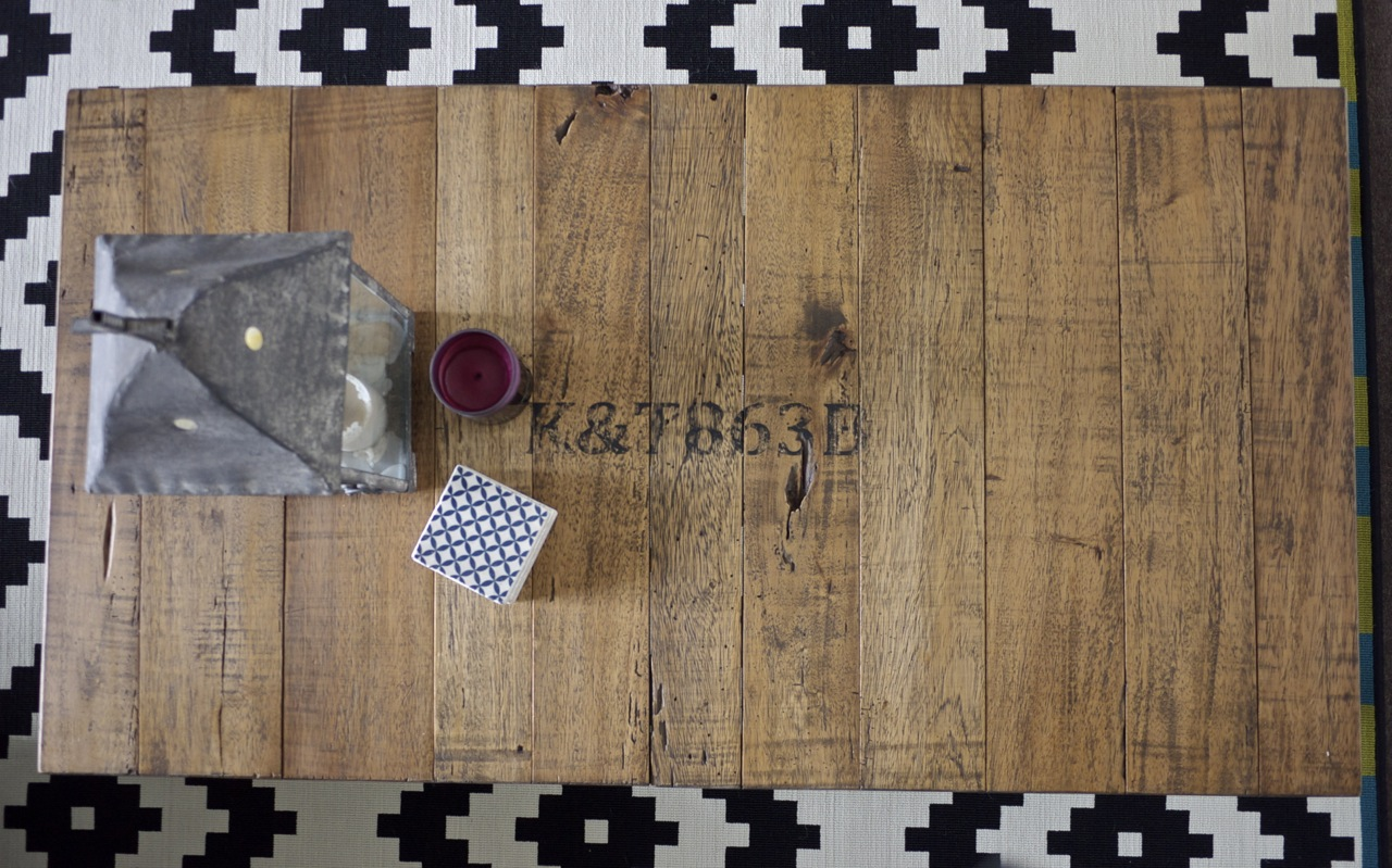 Industrial Coffee Table on IKEA rug with Stone Inspired Coasters