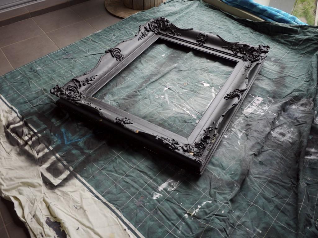 Vintage Ornate Black Mirror Frame