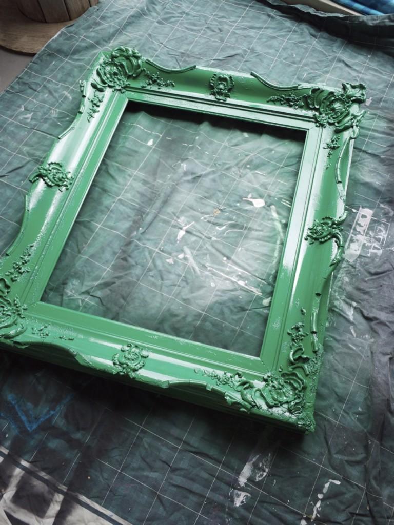 Vintage Ornate Mirror Frame Spray Painted Green