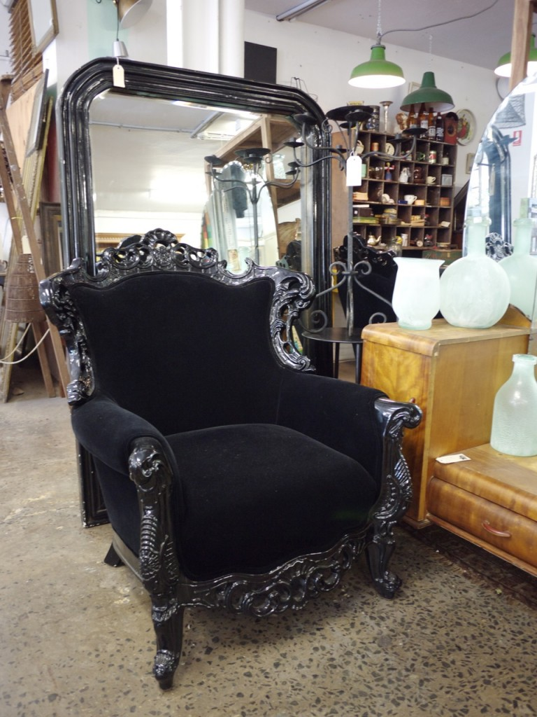Vintage Furniture - Black Velvet Chair The Works Glebe