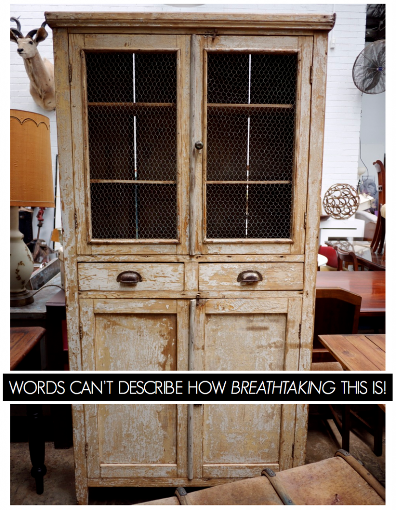 Vintage Furniture - Weathered Cupboard with Mesh - The Works Glebe
