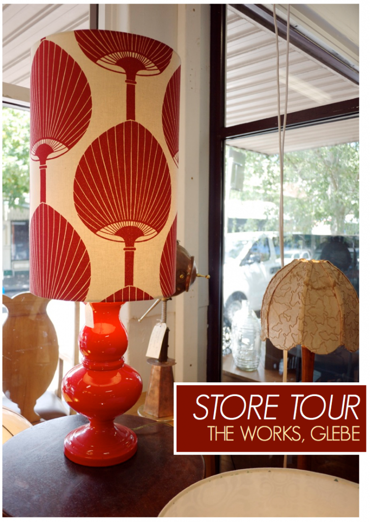 Vintage Furniture - Red Lampshade The Works Glebe