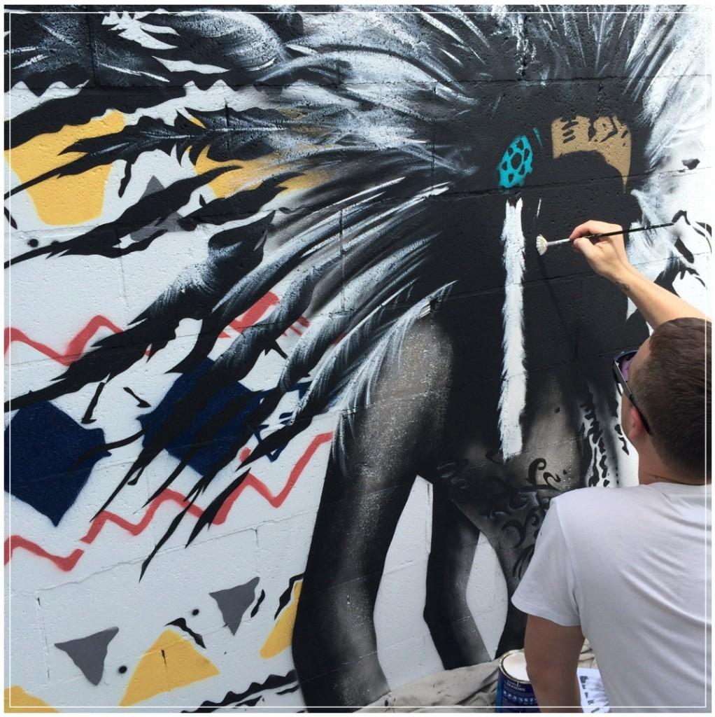 Matt Stewart creating Street Art