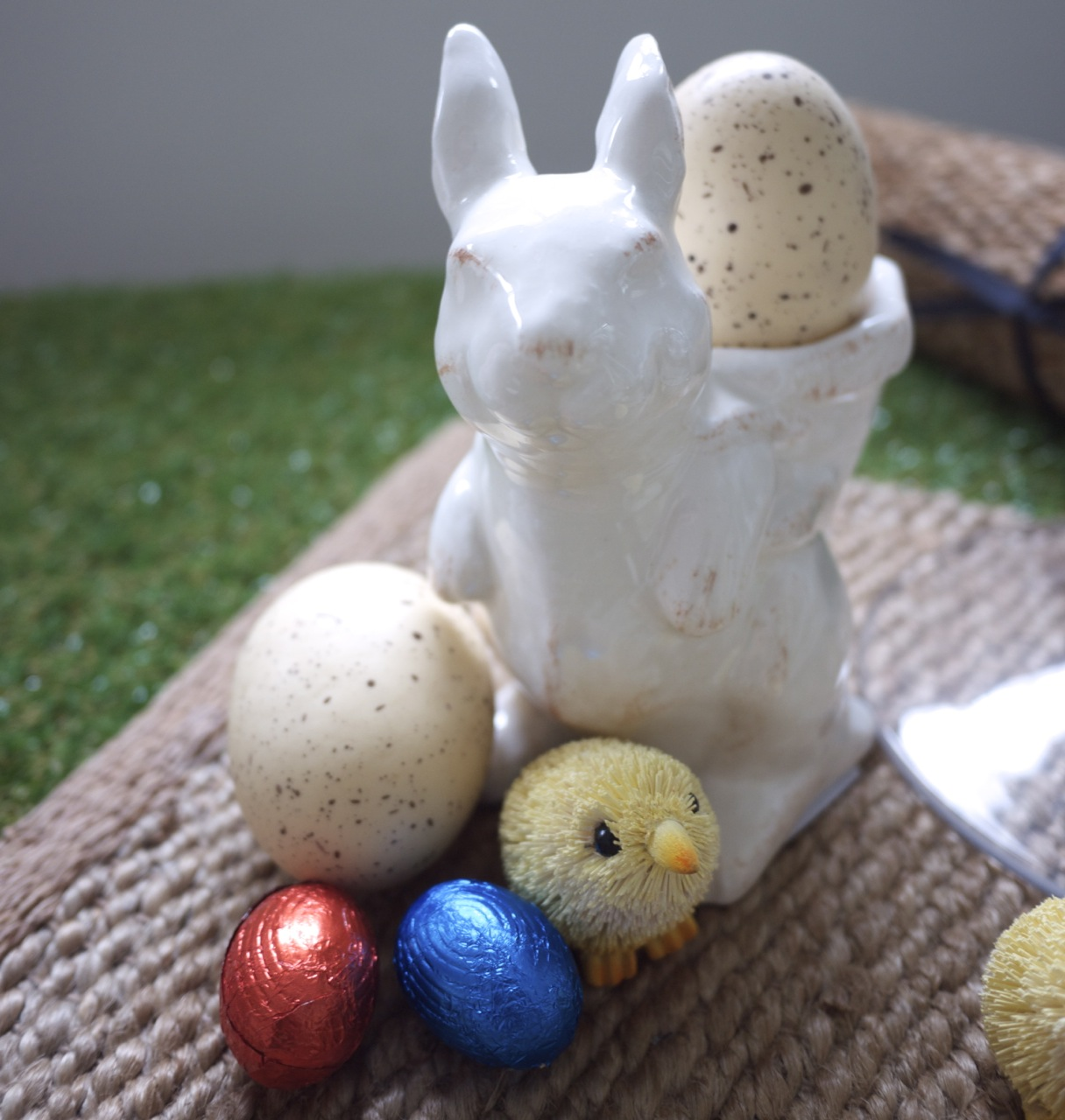 Easter Table Setting Rabbit and Eggs