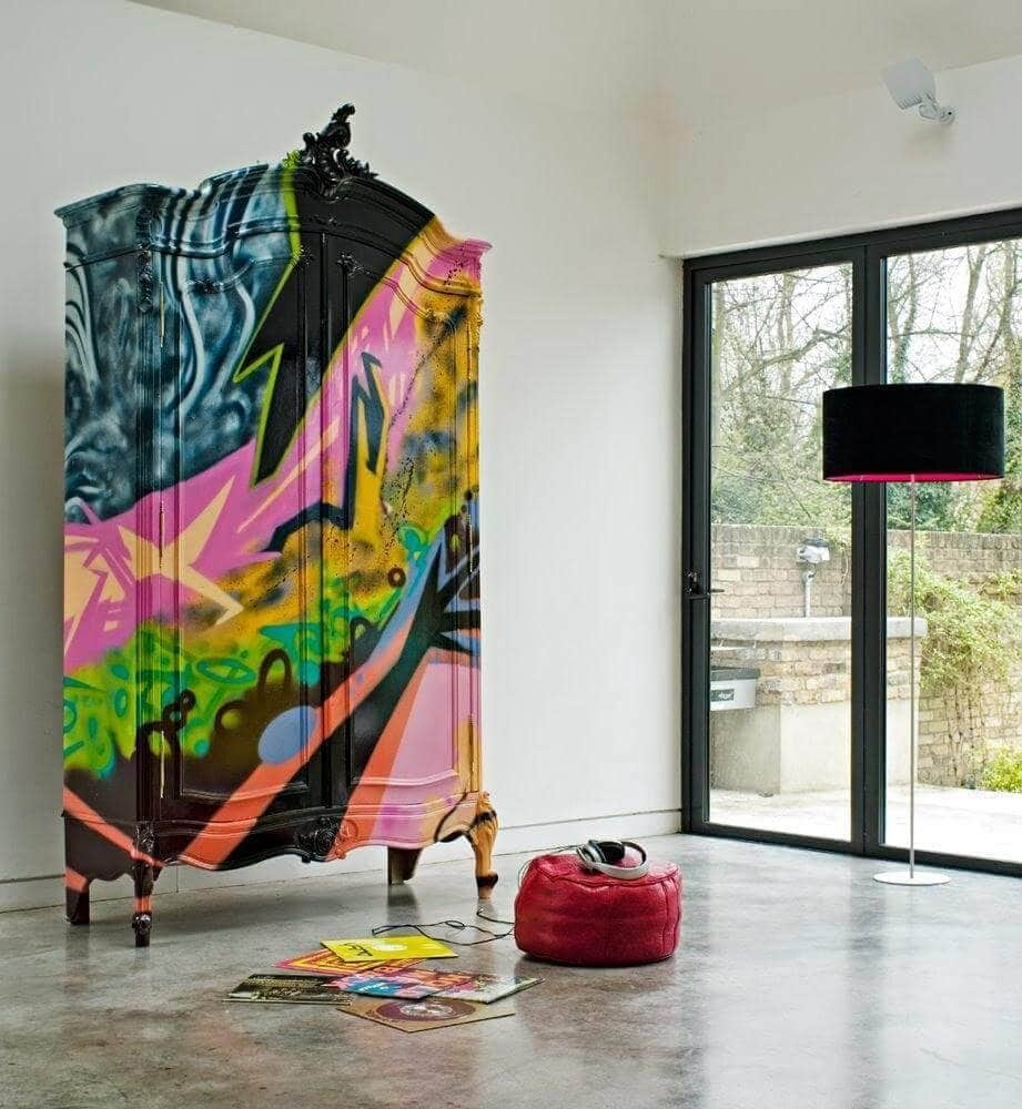 Graffiti Interiors - Spray painted Cupboard