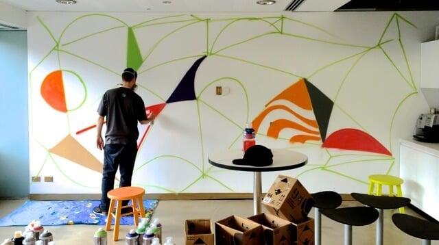 office graffiti wall. Graffiti Wall In Office Kitchen F