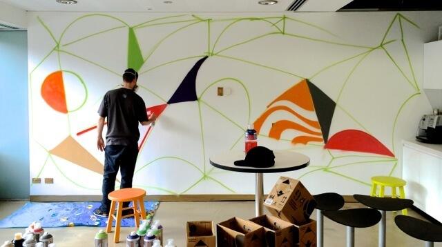Graffiti Wall in Office Kitchen