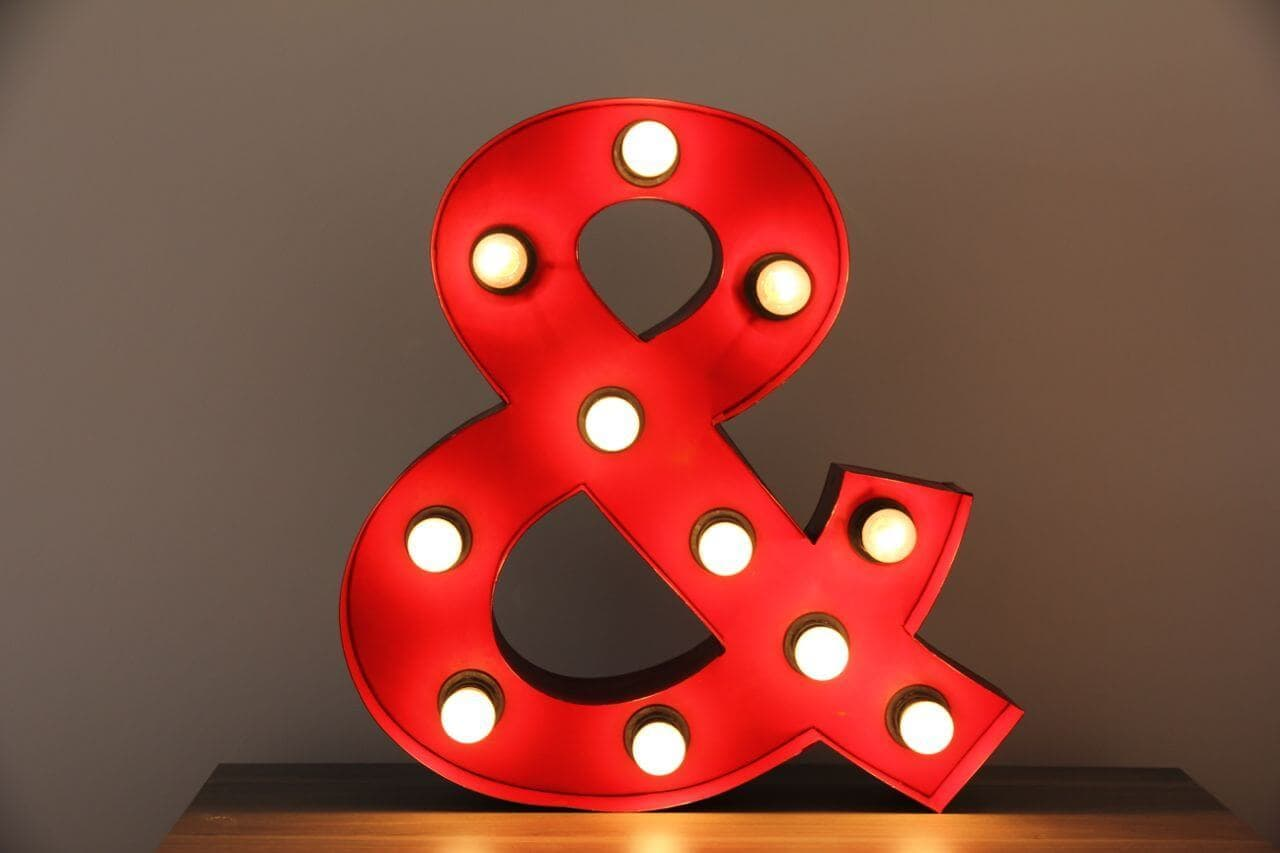 Red Homewares -Ampersand Marquee Light