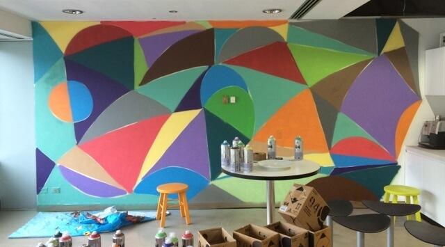 graffti wall in kitchen