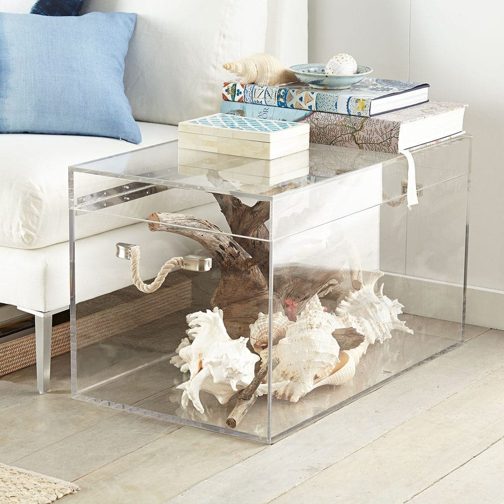 transparent trunk used as a coffee table with coral and timber inside