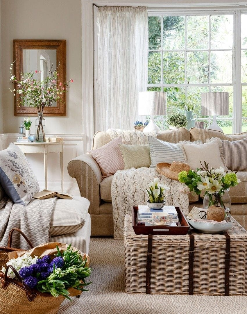 wicker trunk used as a coffee table in country style living room