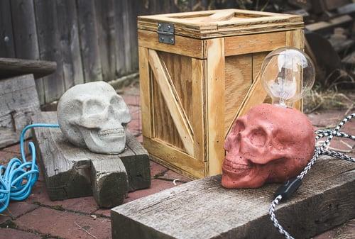 Cement Skull Lamps