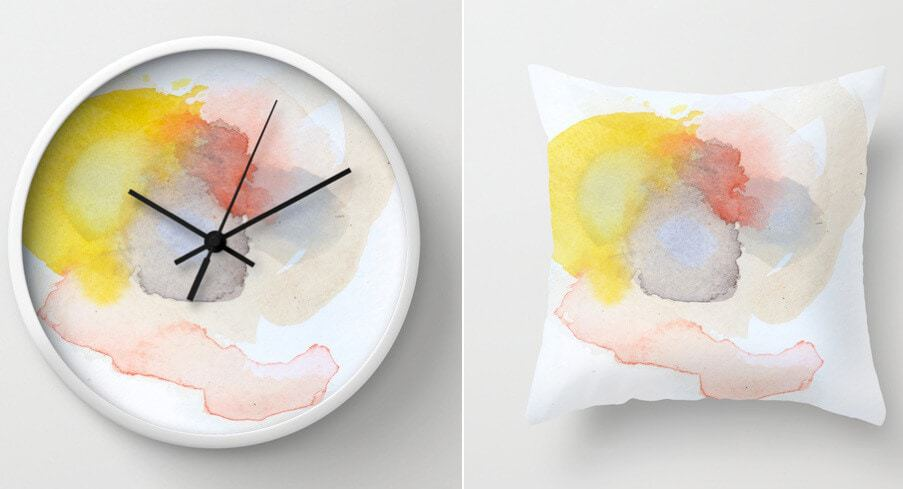 Kim Leutwyler Clock and Cushion
