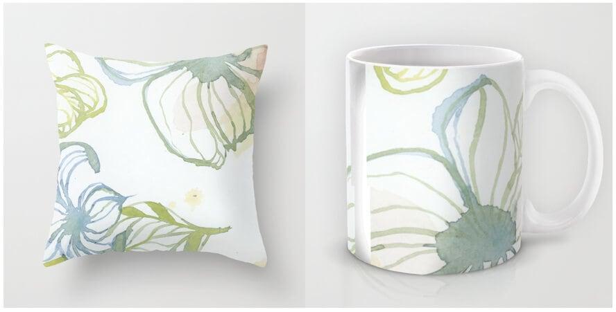 Kim Leutwyler Cushion and Mug