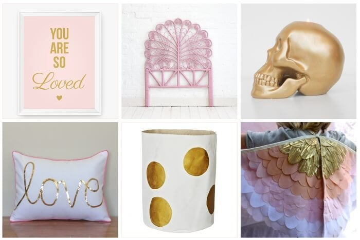Pink and Gold Homewares