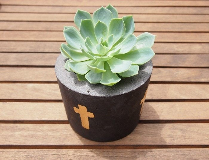 Peace of Me Cross Cement Pot