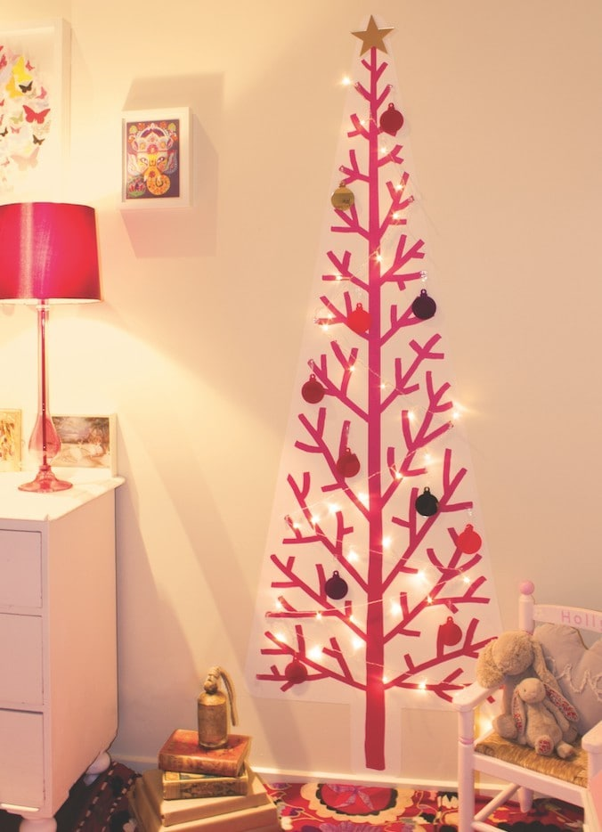 Wallpaper Christmas Trees in Pink from Treekandi