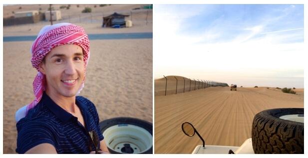 Traveling to Dubai - Desert Sunset Selfie