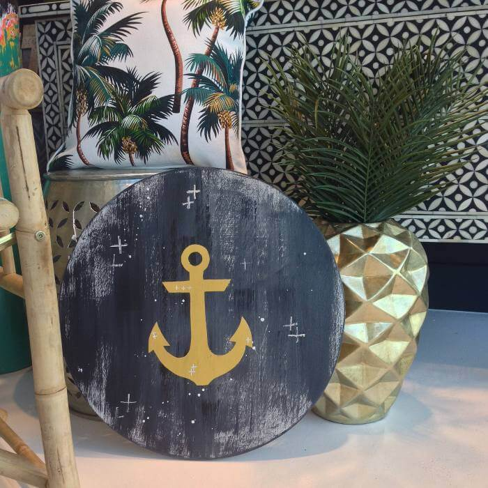 Tropical Homewares from The Chroma Club - Gold Anchor Porthole