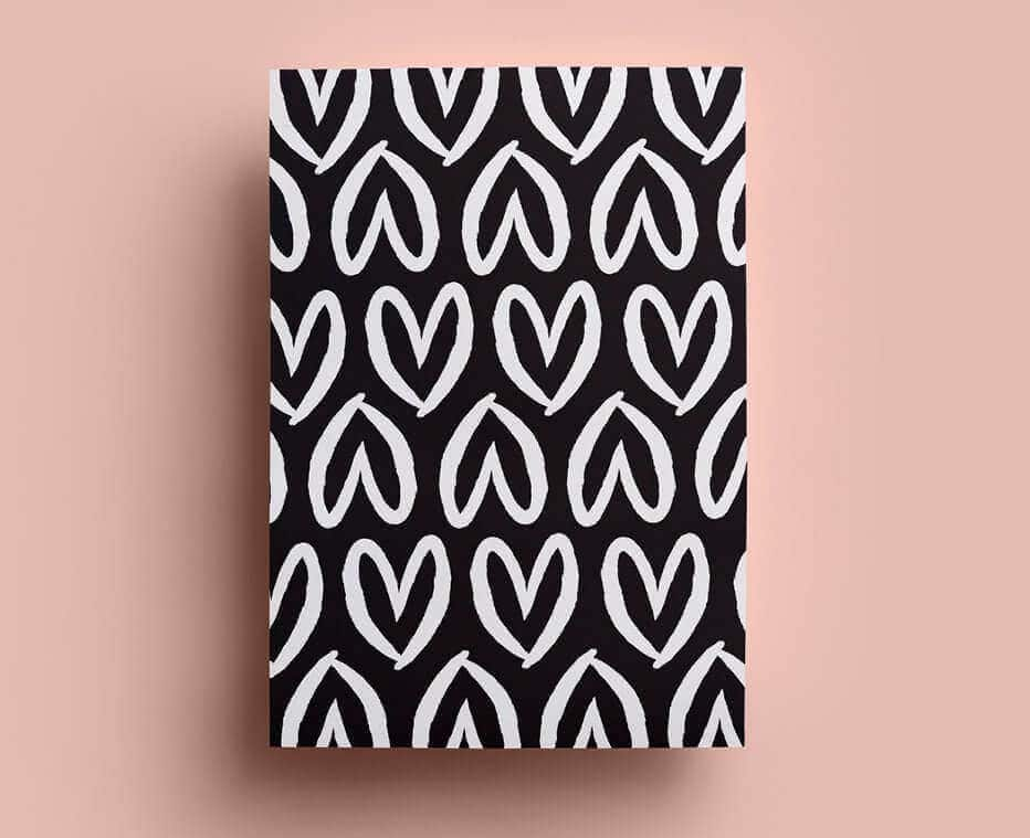 Colour and Chaos Black Hearts Wrapping Paper
