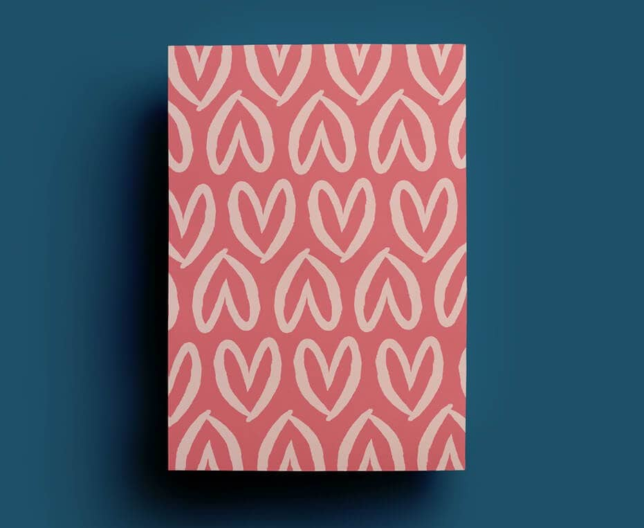 Colour and Chaos Pink Hearts Wrapping Paper