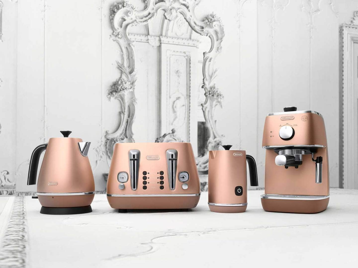 Delonghi distinta kitchen appliances in copper colour