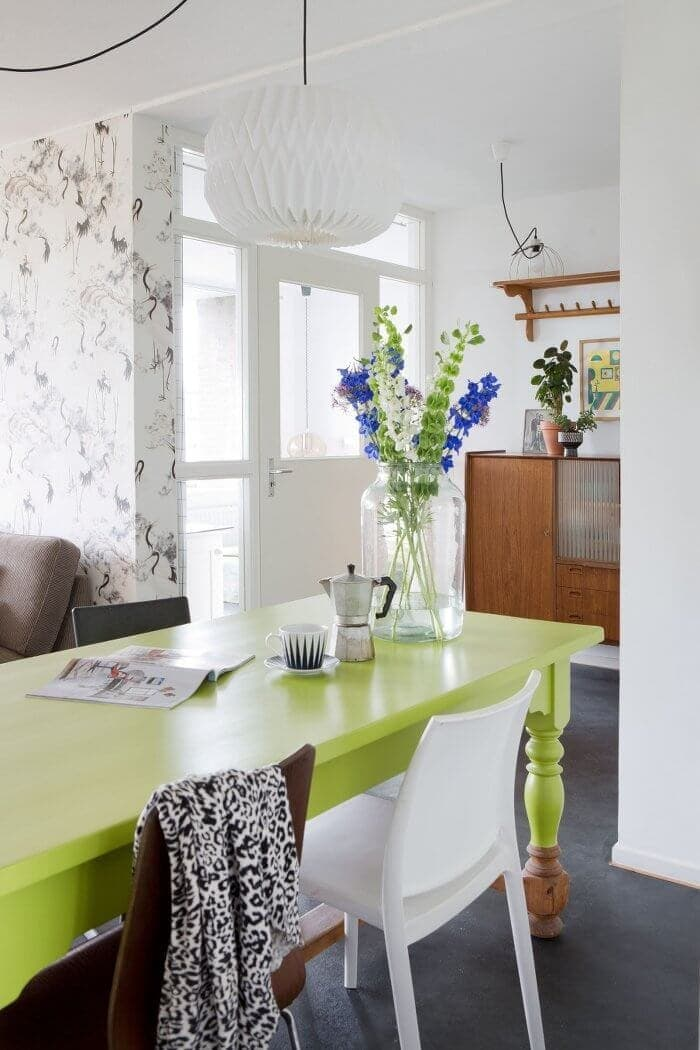 Eclectic Interior - Dip Dyed Dining Table Legs in Vintage Style Apartment