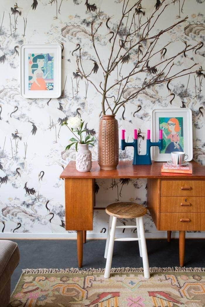 Eclectic Interior - Vintage Wallpaper