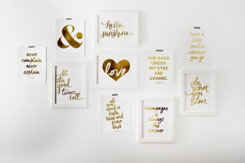 Gold Foil Prints by Paper D'Amour