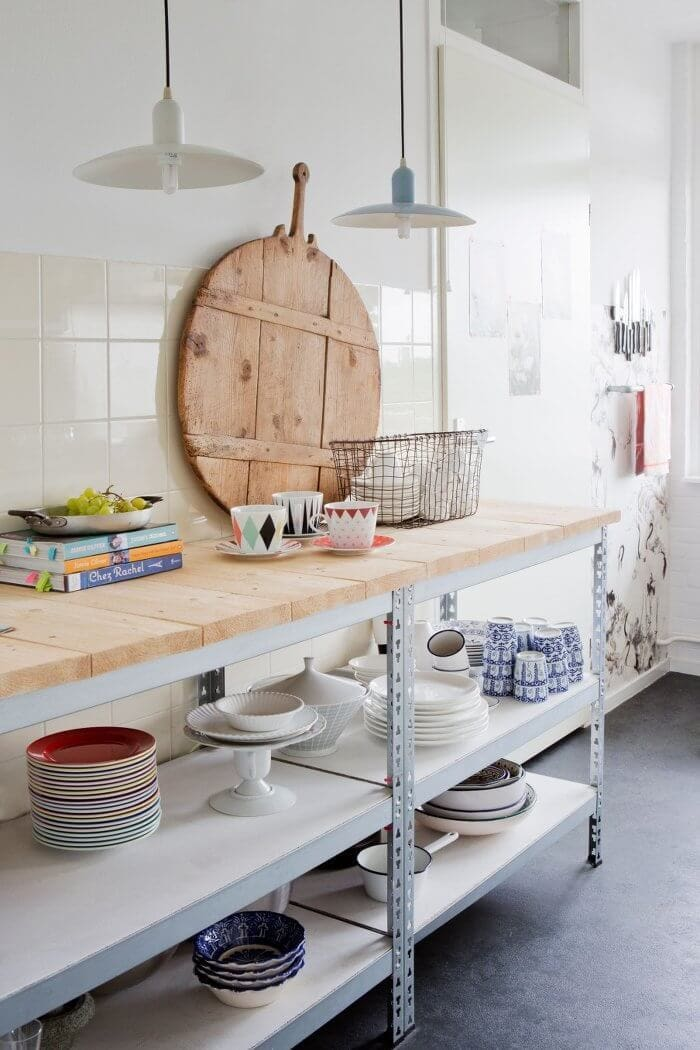 Rustic Chopping Board and exposed shelves in Rustic Kitchen
