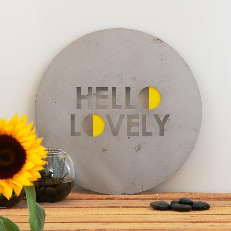 Hello Lovely Steel Art from Lisa Sarah Designs