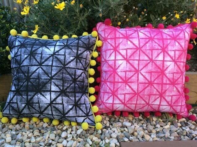 Screen printed cushion designs from Shakiraaz