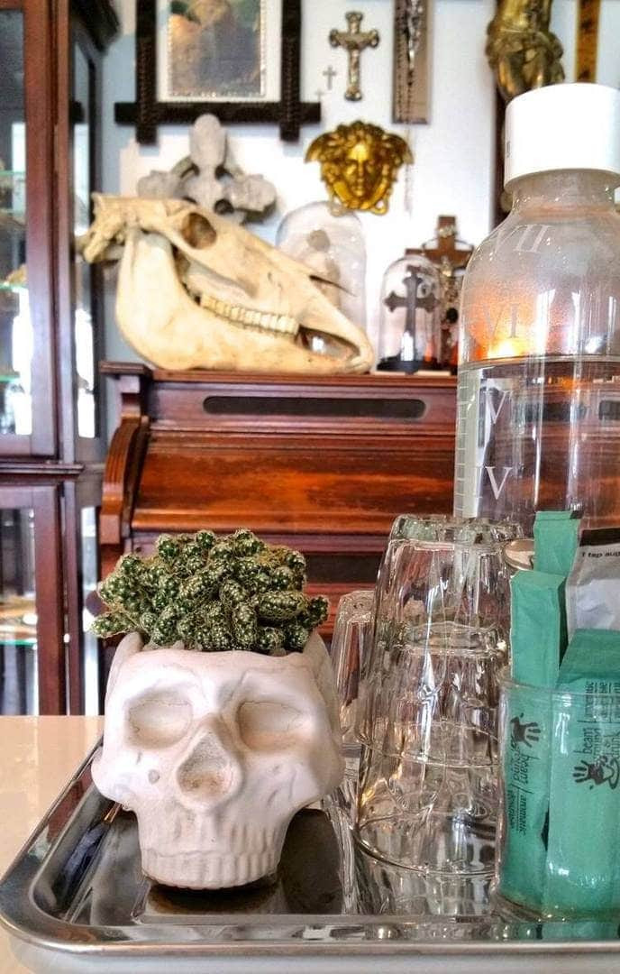 Daseti Cafe in Thornbury - Skull on Tray - Drinks Tray Styling