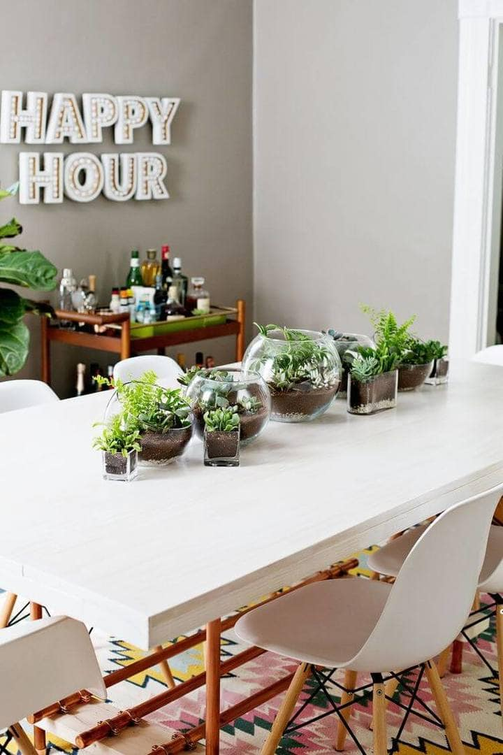 Dining Table Styling Ideas - Terrariums