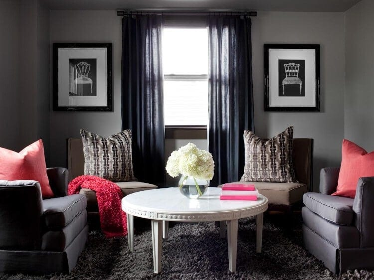 Red Living Room with Black and Grey Furniture - DIY Network