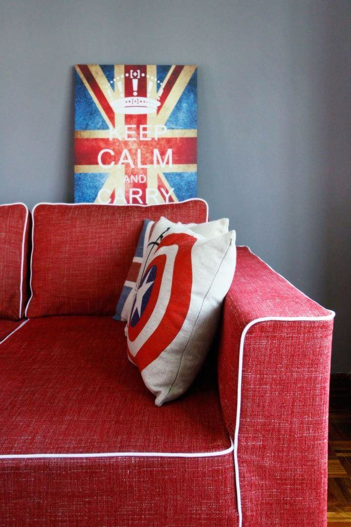 Red Sofa with British Artwork - Red Interior Design from Pfgenada