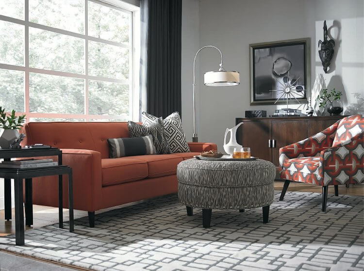 Red and Orange Living Room from Kathleen Jennison