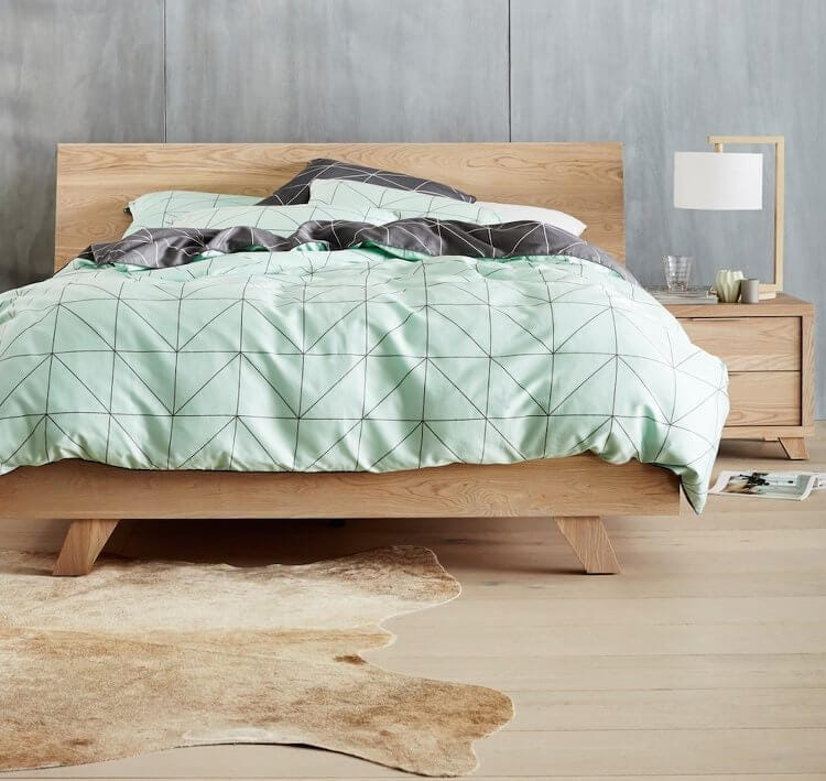 Timber Bed from Forty Winks with AURA Home Bedding