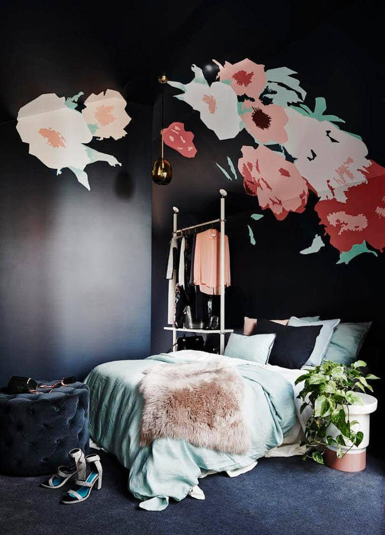 Black Bedroom Wall with Faux Fur Throw and Wall Mural
