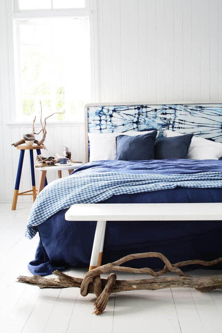 Blue and White Bedroom Ideas - Shibori Style Bedroom