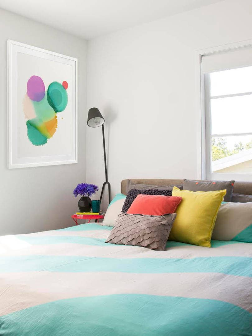 Colourful Bedroom Ideas - Colour Clashing CUshions on Striped AURA Bedding