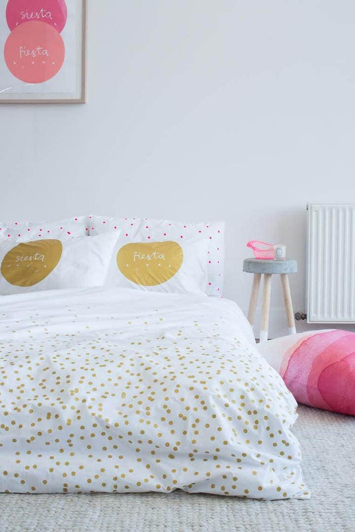 Girly Bedroom Ideas - Gold Polka Dot Bedding in Girls Room - Pink Polka Dot Pillow